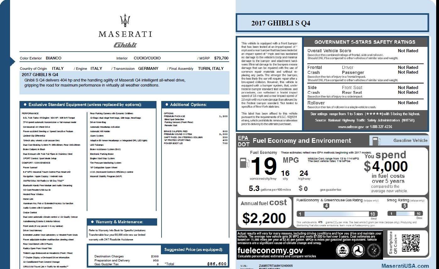New 2017 Maserati Ghibli S Q4 For Sale In Westport, CT 1164_p26