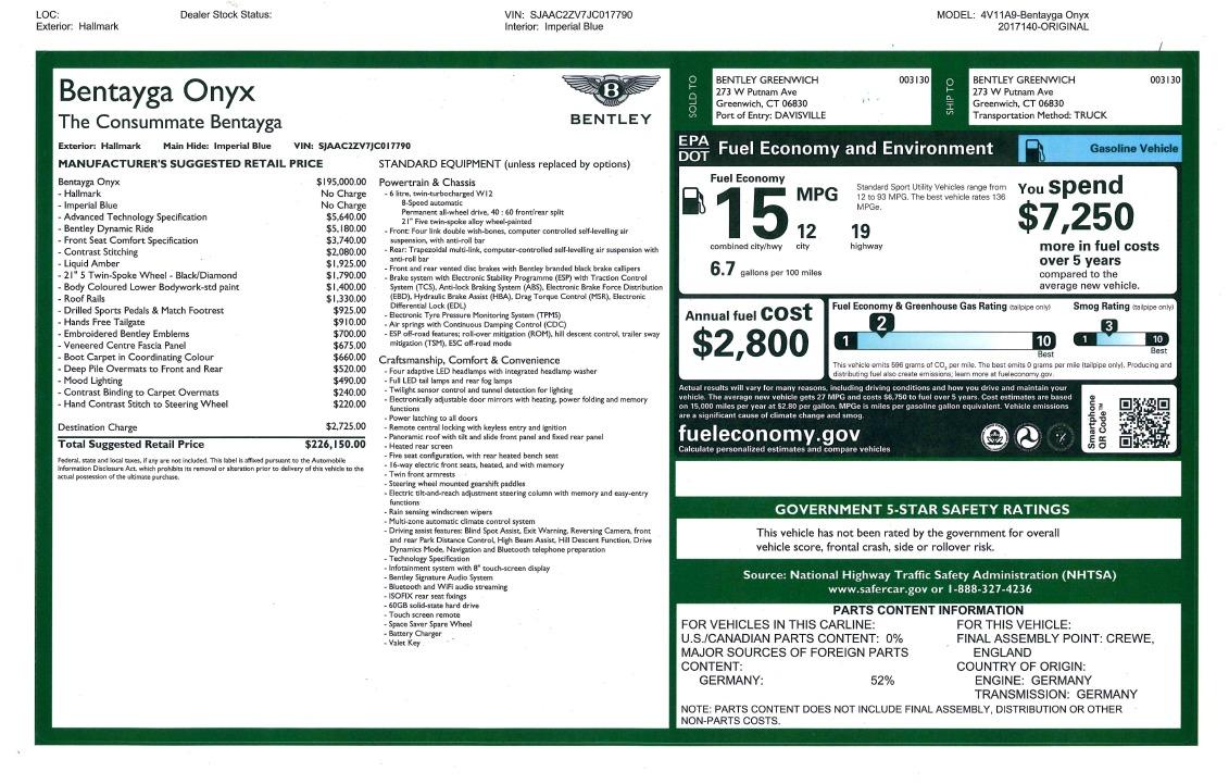 New 2018 Bentley Bentayga Onyx For Sale In Westport, CT 1220_p47