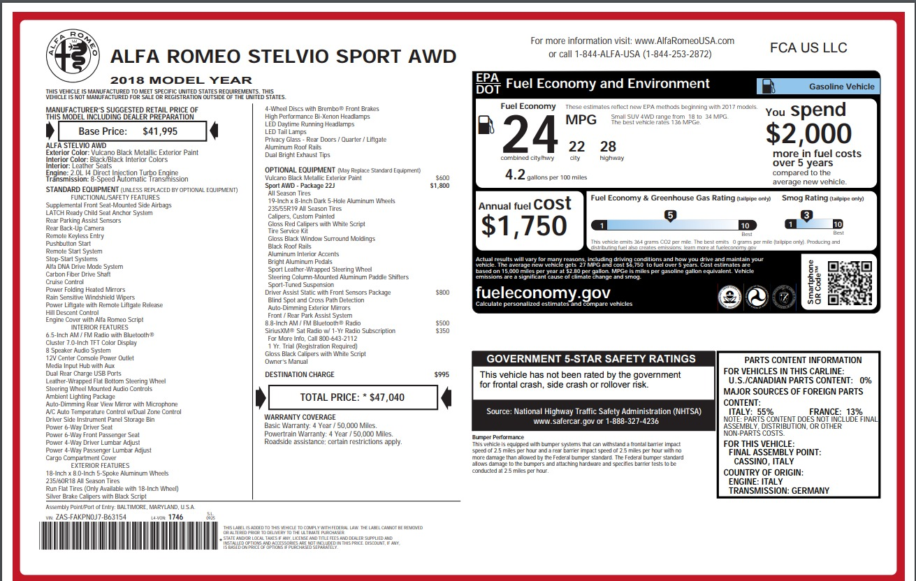 New 2018 Alfa Romeo Stelvio Sport Q4 For Sale In Westport, CT 1367_p26