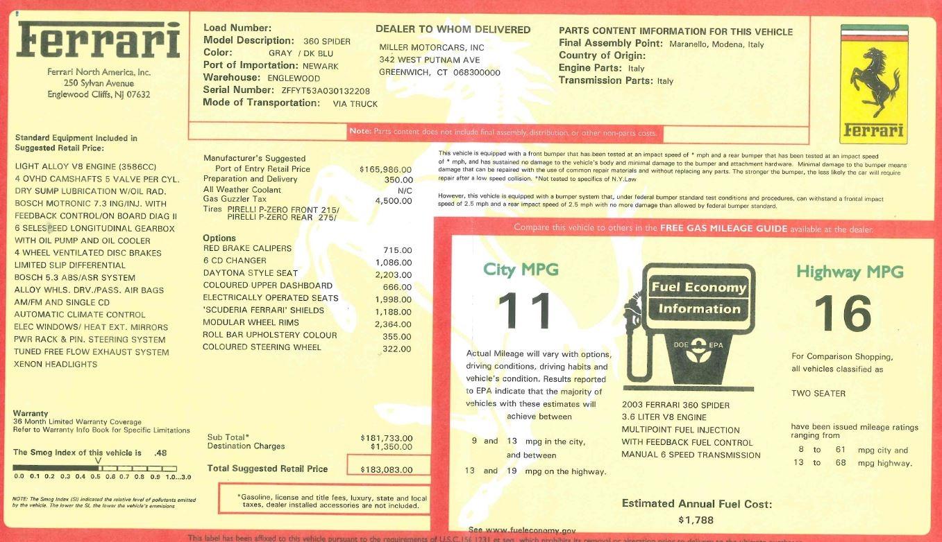 Used 2003 Ferrari 360 Spider 6-Speed Manual For Sale In Westport, CT 1445_p32