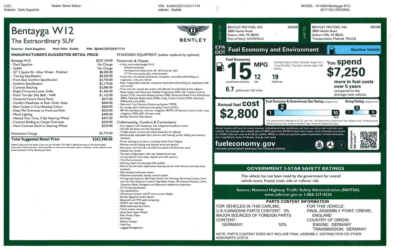 Used 2018 Bentley Bentayga W12 Signature For Sale In Westport, CT 1468_p53
