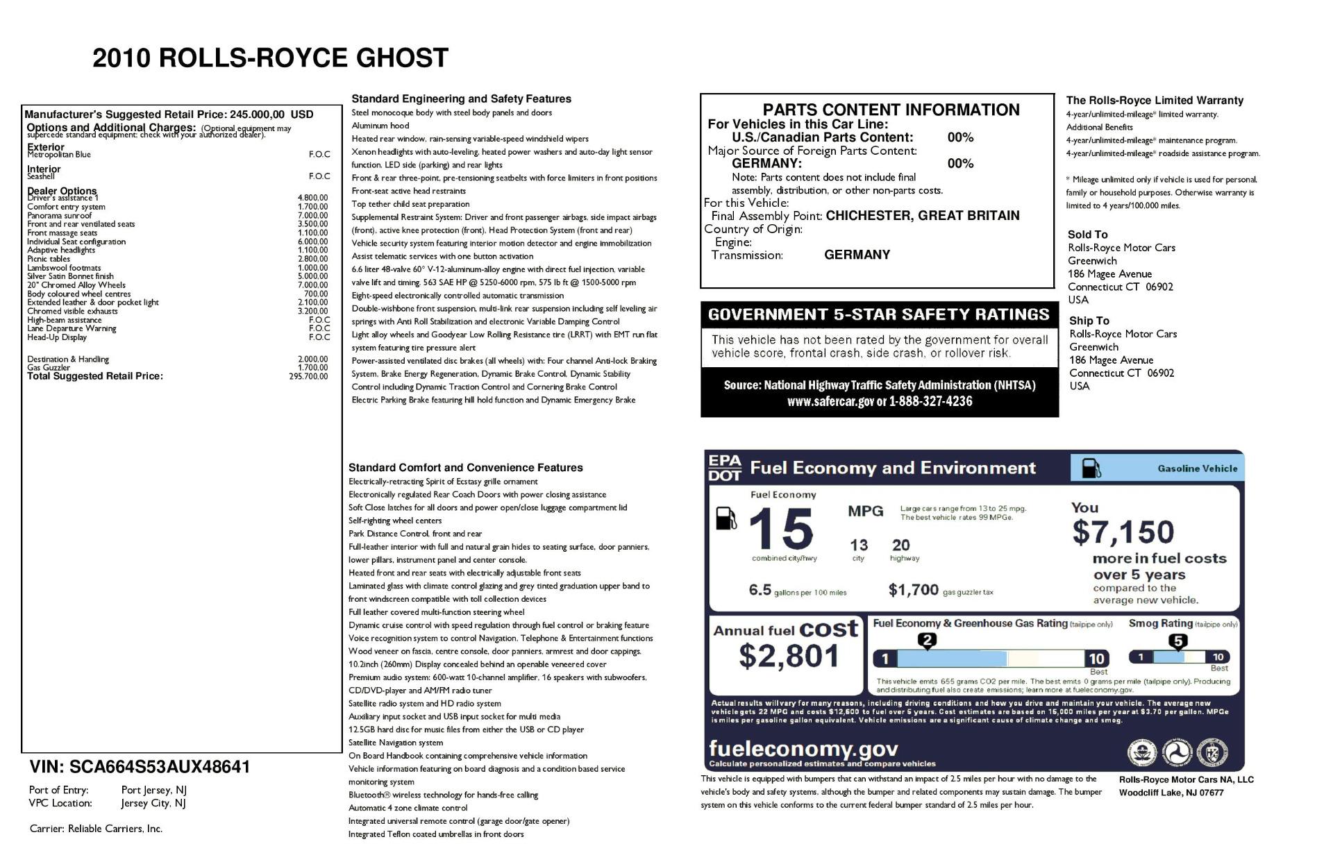 Used 2010 Rolls-Royce Ghost  For Sale In Westport, CT 1504_p32