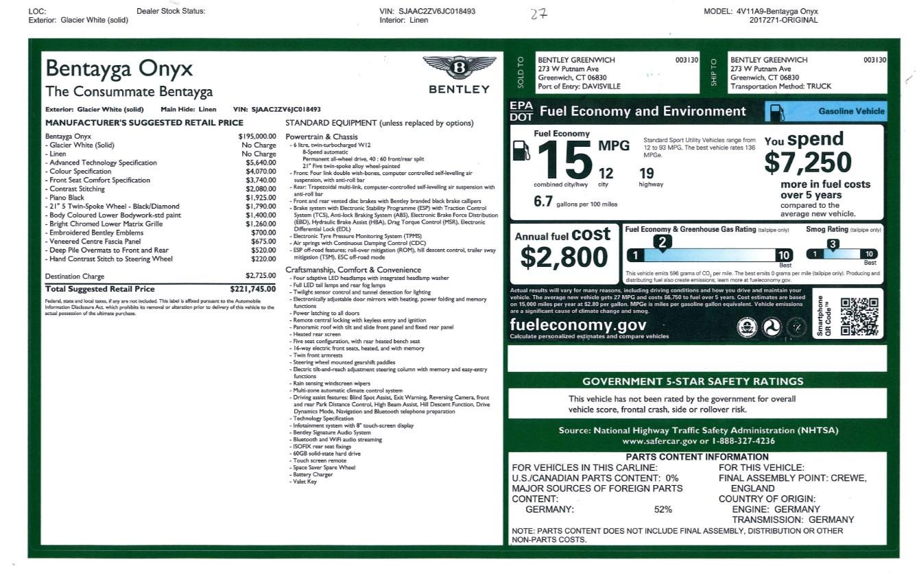 Used 2018 Bentley Bentayga Onyx For Sale In Westport, CT 1549_p31