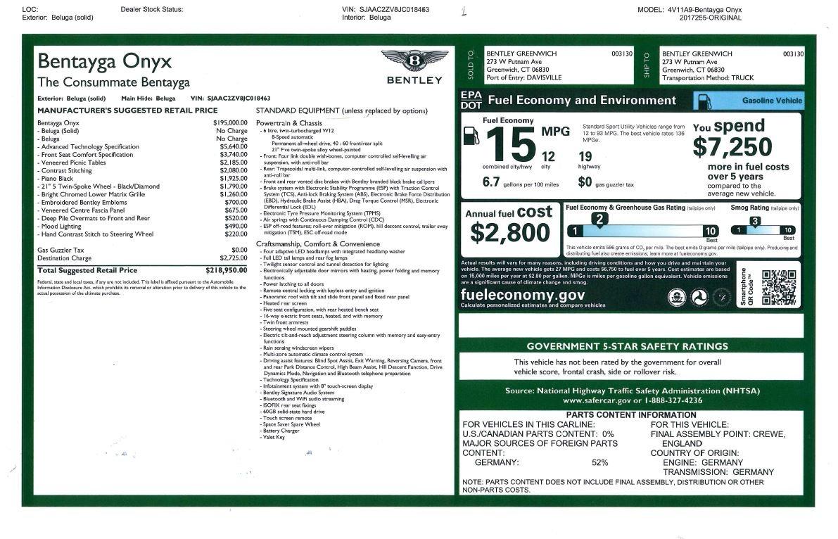 New 2018 Bentley Bentayga Onyx For Sale In Westport, CT 1579_p54