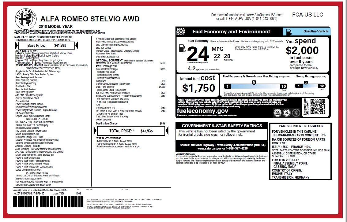 New 2018 Alfa Romeo Stelvio Q4 For Sale In Westport, CT 1590_p26
