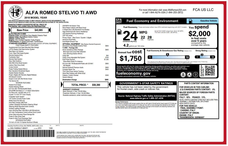 New 2018 Alfa Romeo Stelvio Ti Q4 For Sale In Westport, CT 1594_p26