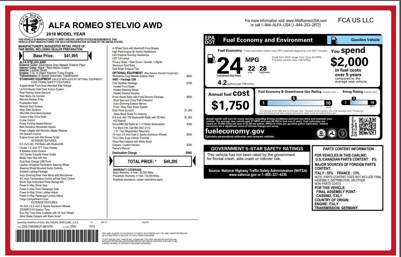 New 2018 Alfa Romeo Stelvio Q4 For Sale In Westport, CT 1624_p26