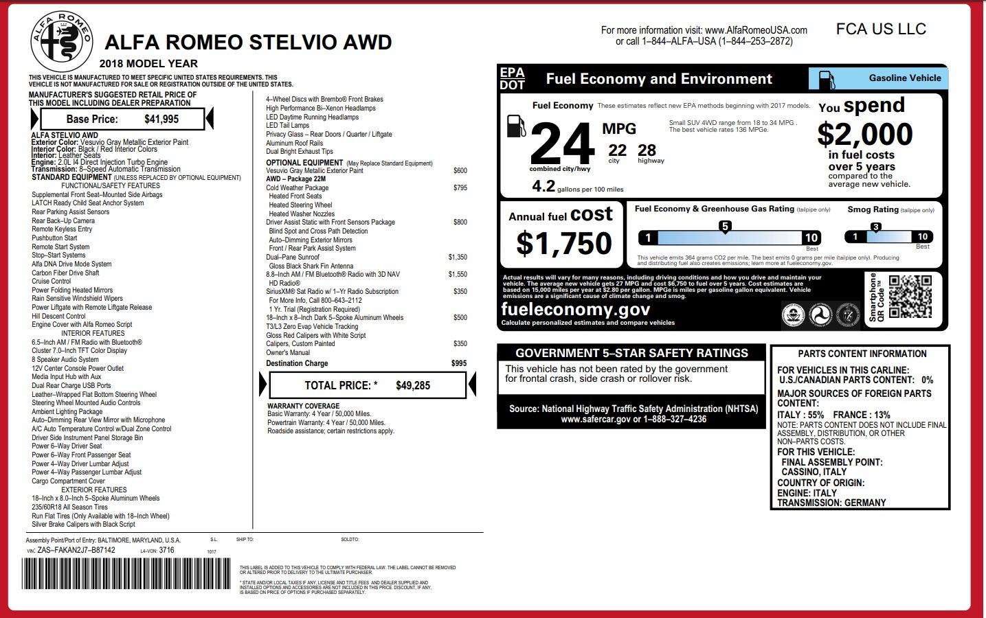 New 2018 Alfa Romeo Stelvio Q4 For Sale In Westport, CT 1637_p26