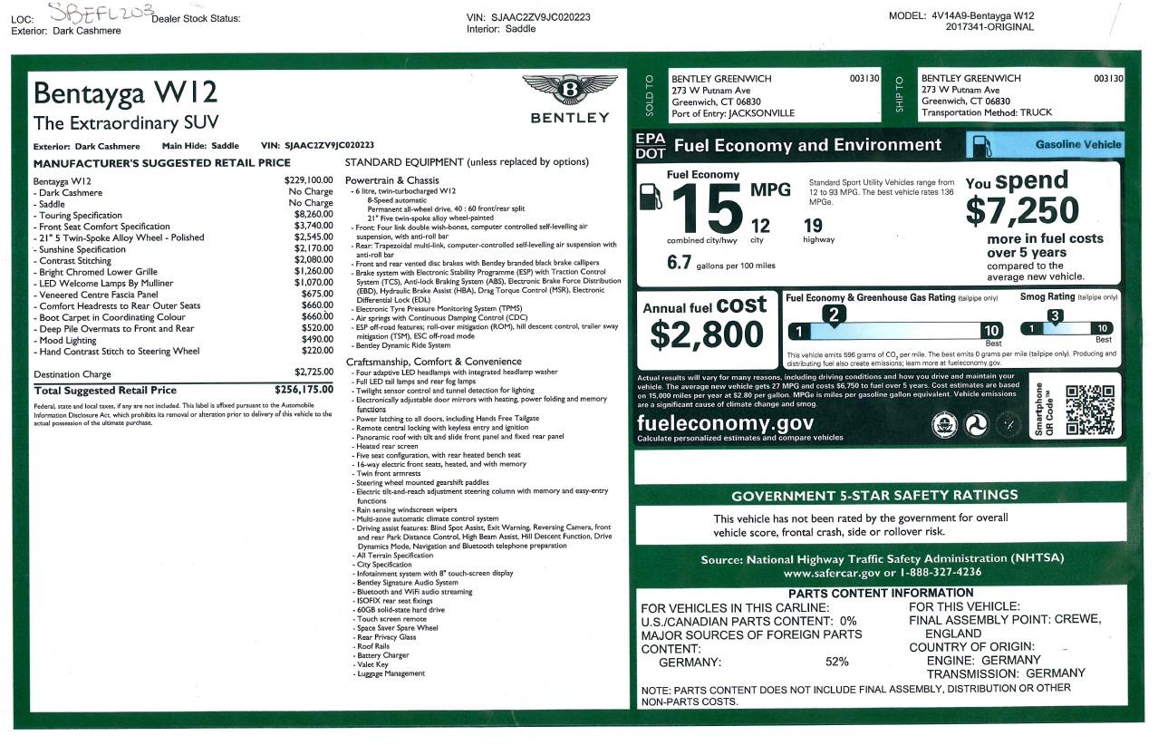 New 2018 Bentley Bentayga Signature For Sale In Westport, CT 1654_p33