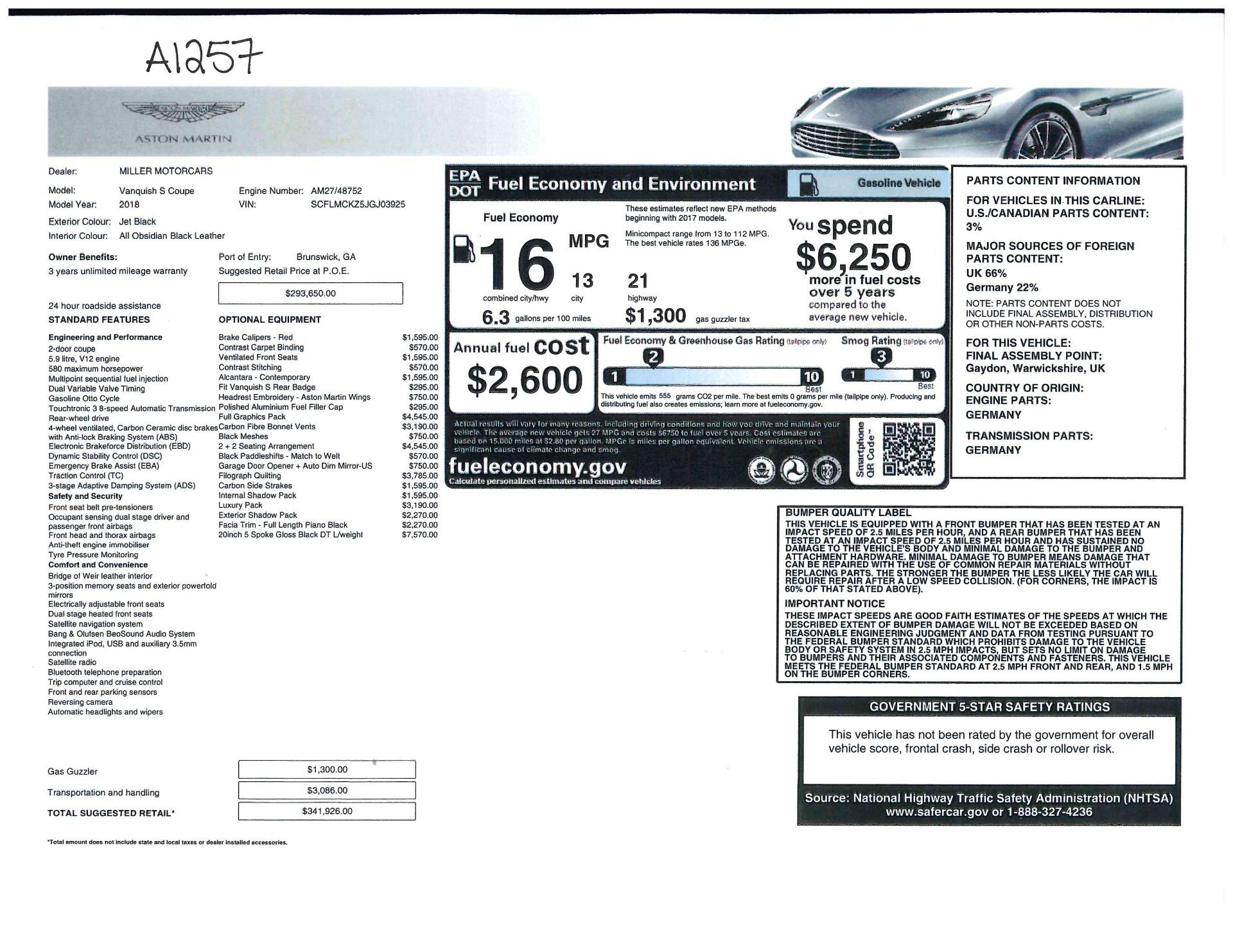 Used 2018 Aston Martin Vanquish S  For Sale In Westport, CT 1710_p20
