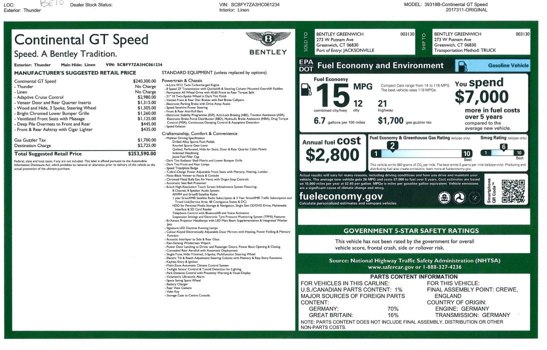 New 2017 Bentley Continental GT Speed For Sale In Westport, CT 1715_p31