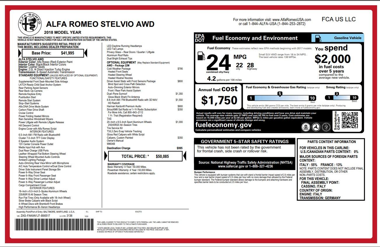 New 2018 Alfa Romeo Stelvio Q4 For Sale In Westport, CT 1726_p26