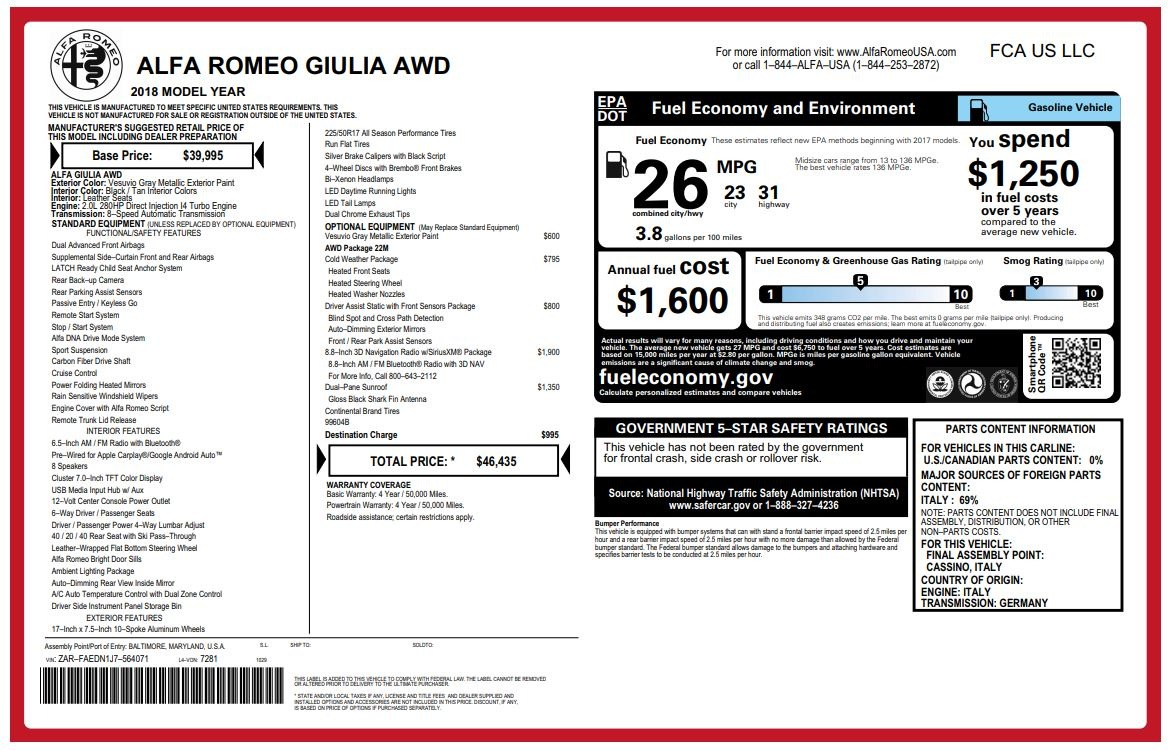 New 2018 Alfa Romeo Giulia Q4 For Sale In Westport, CT 1737_p26