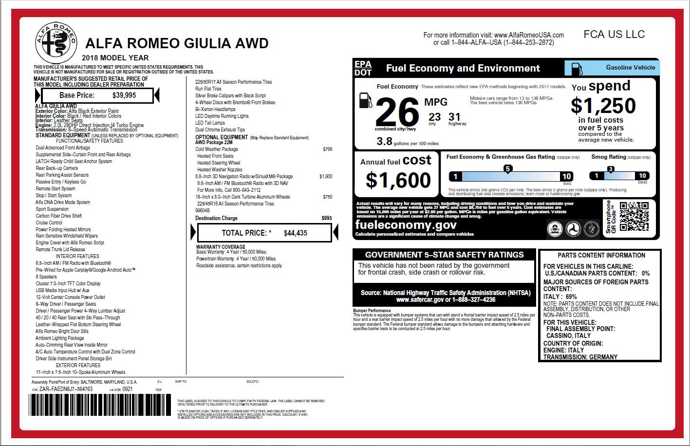 New 2018 Alfa Romeo Giulia Q4 For Sale In Westport, CT 1757_p26