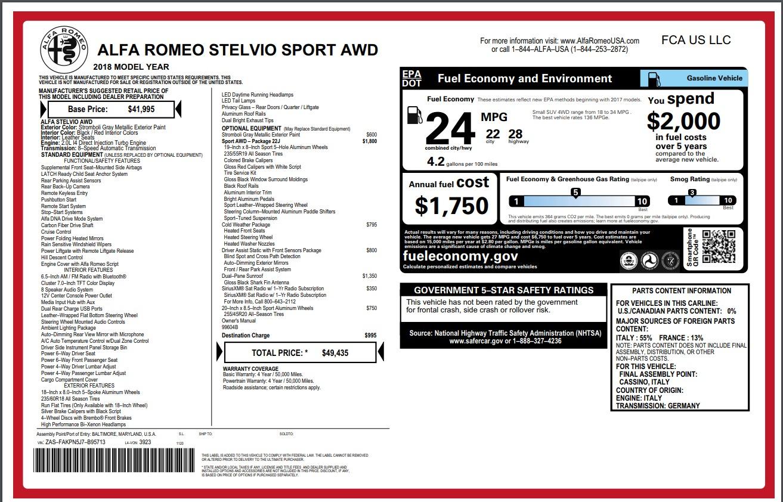 New 2018 Alfa Romeo Stelvio Sport Q4 For Sale In Westport, CT 1836_p26