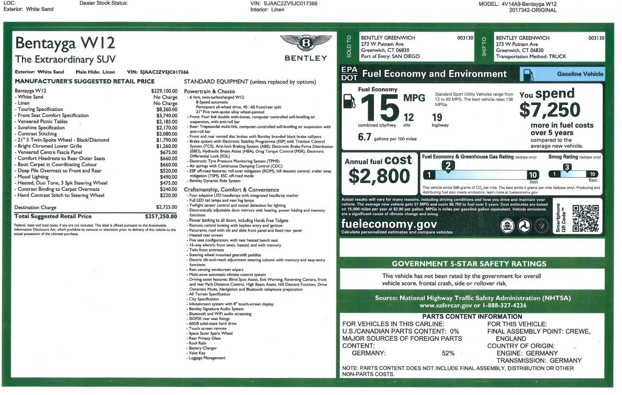 New 2018 Bentley Bentayga Signature For Sale In Westport, CT 1876_p32