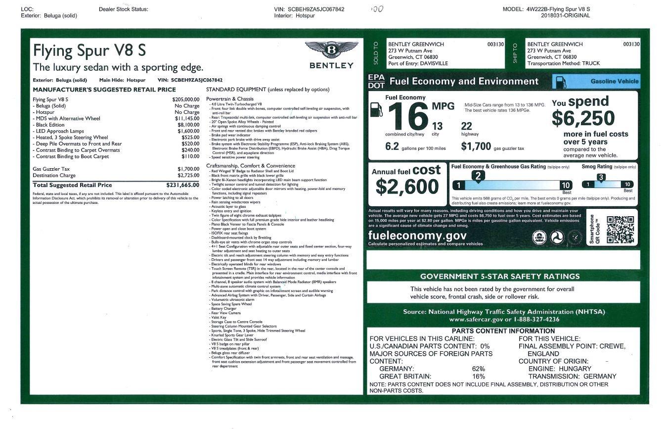 New 2018 Bentley Flying Spur V8 S Black Edition For Sale In Westport, CT 2073_p26