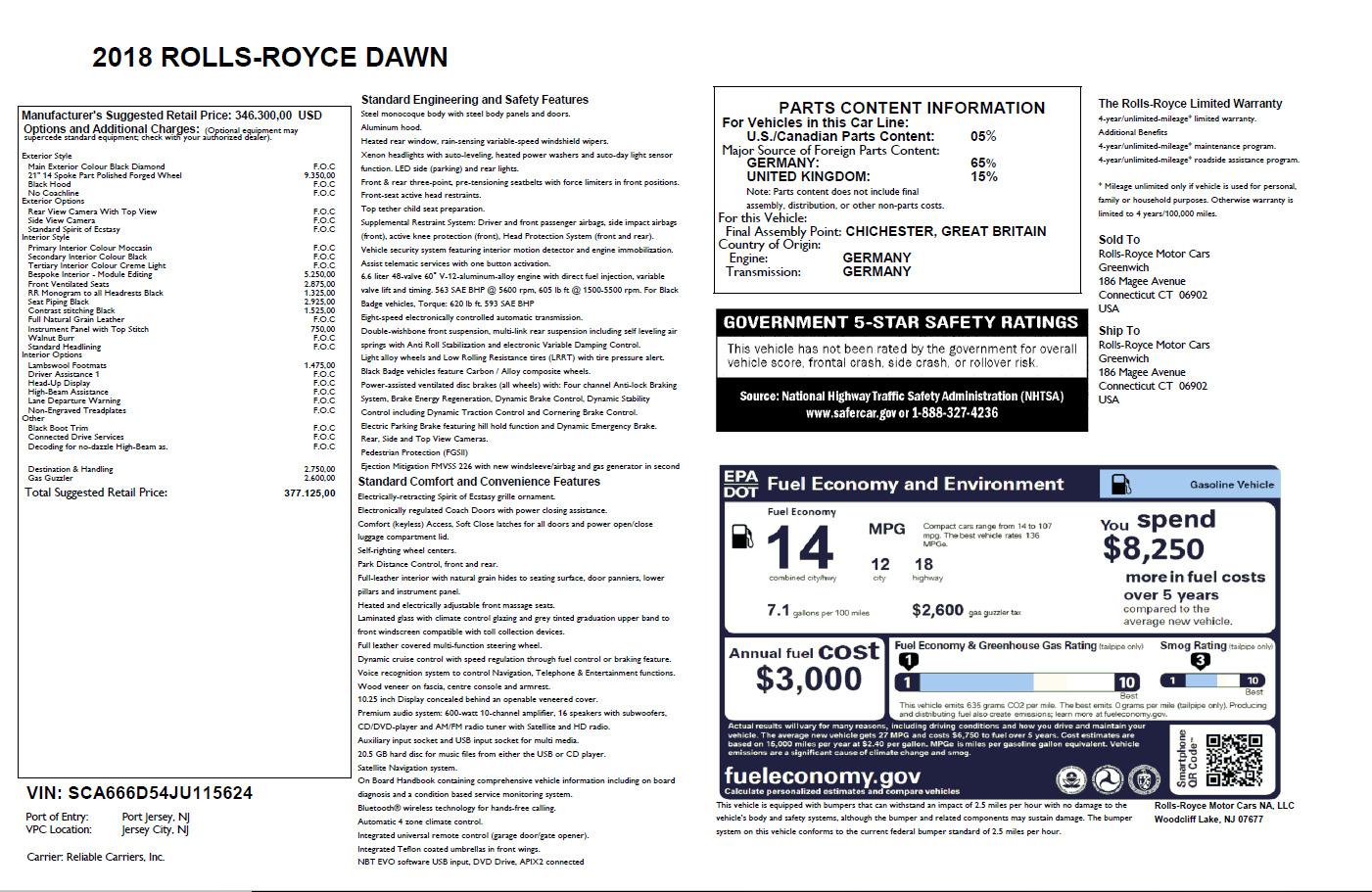 Used 2018 Rolls-Royce Dawn  For Sale In Westport, CT 2105_p32