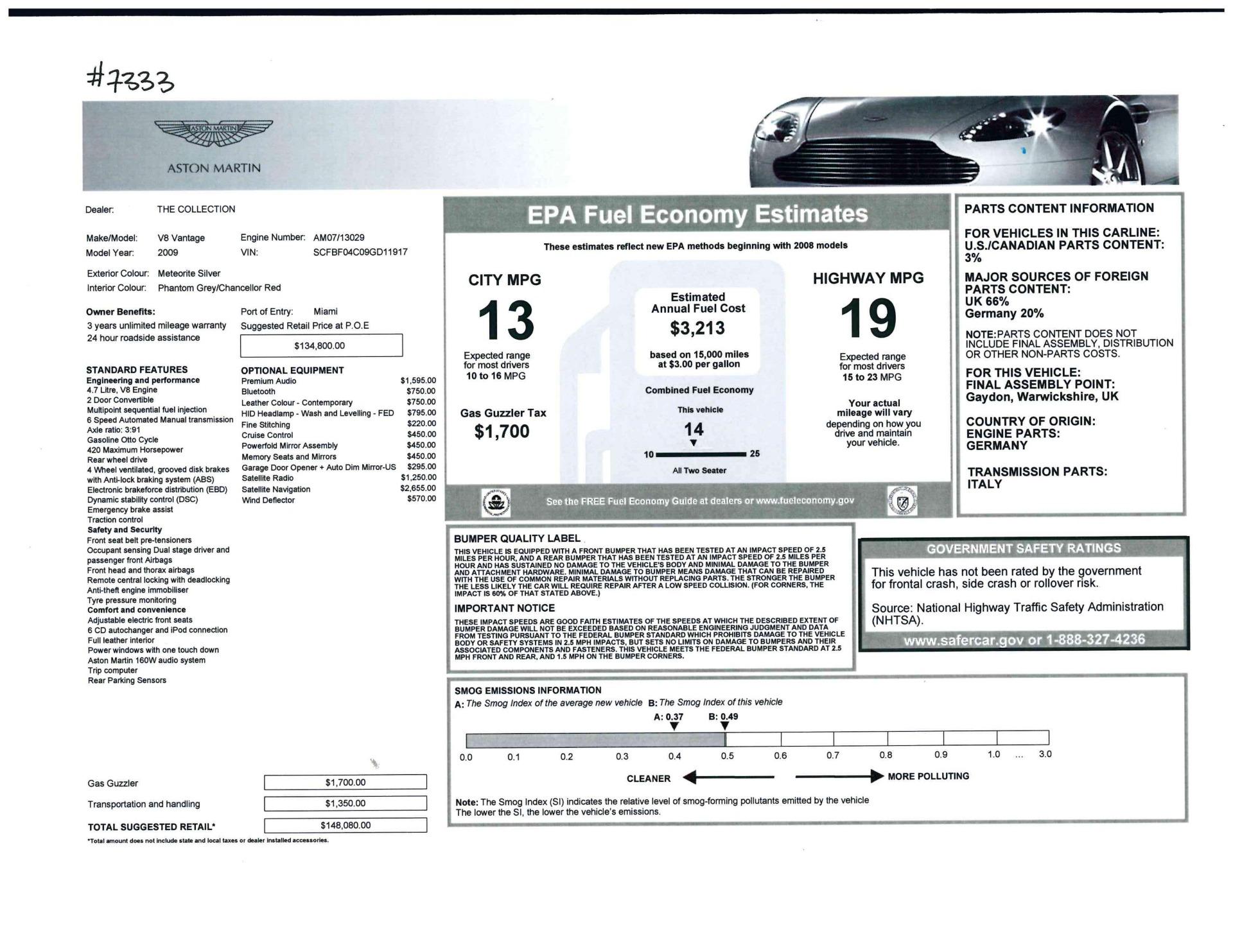Used 2009 Aston Martin V8 Vantage Roadster For Sale In Westport, CT 2123_p30