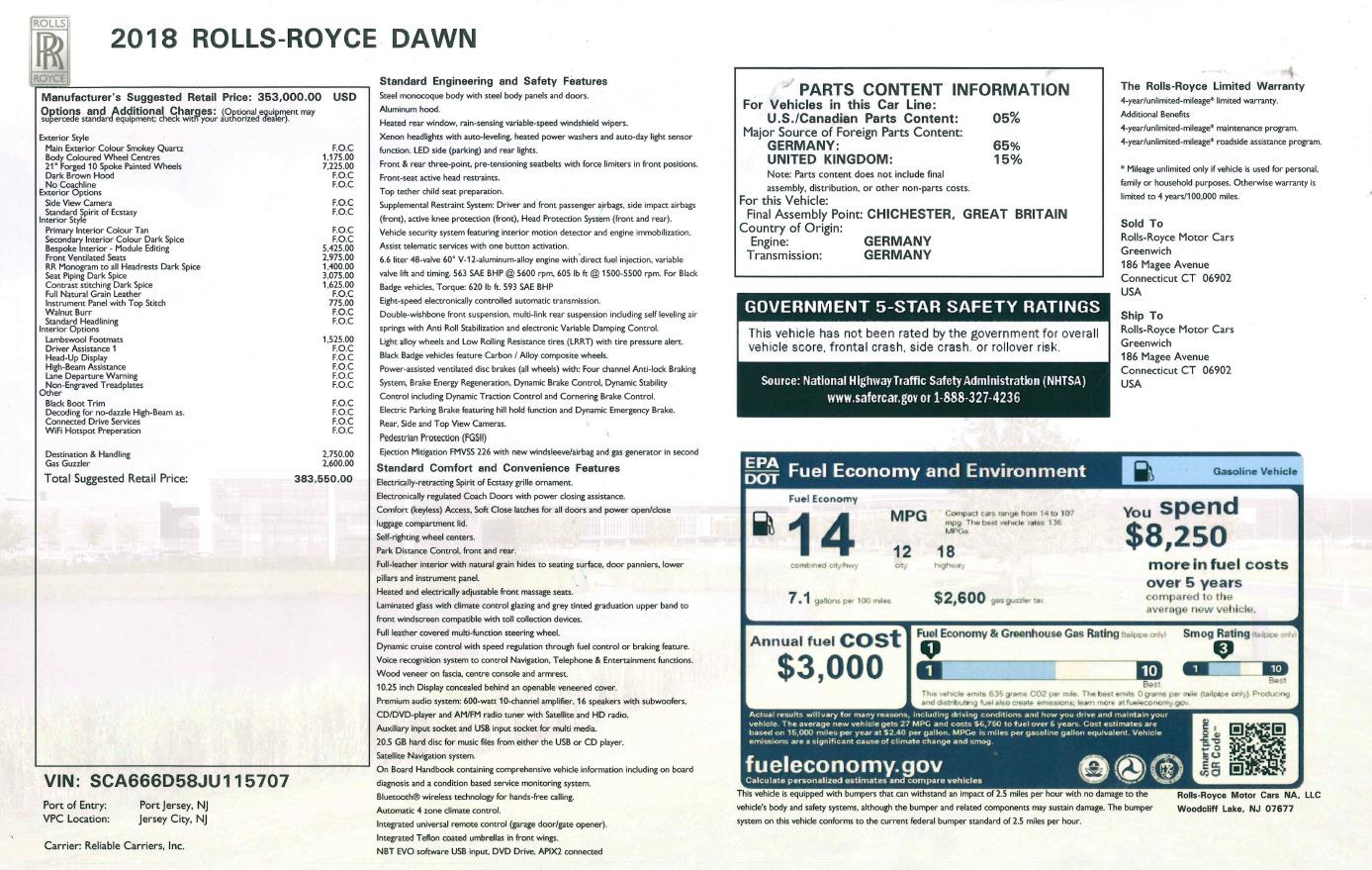 Used 2018 Rolls-Royce Dawn  For Sale In Westport, CT 2178_p31