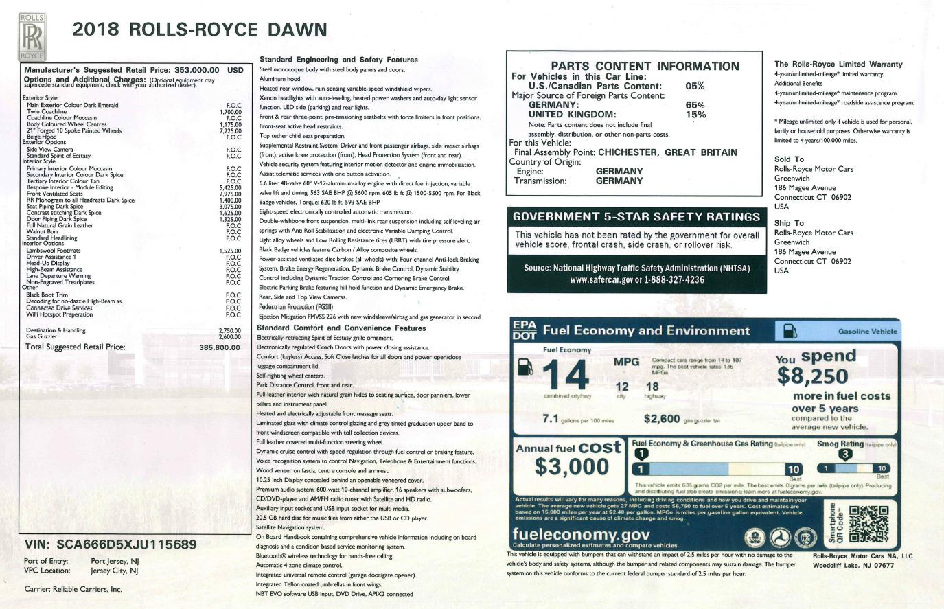 Used 2018 Rolls-Royce Dawn  For Sale In Westport, CT 2179_p32