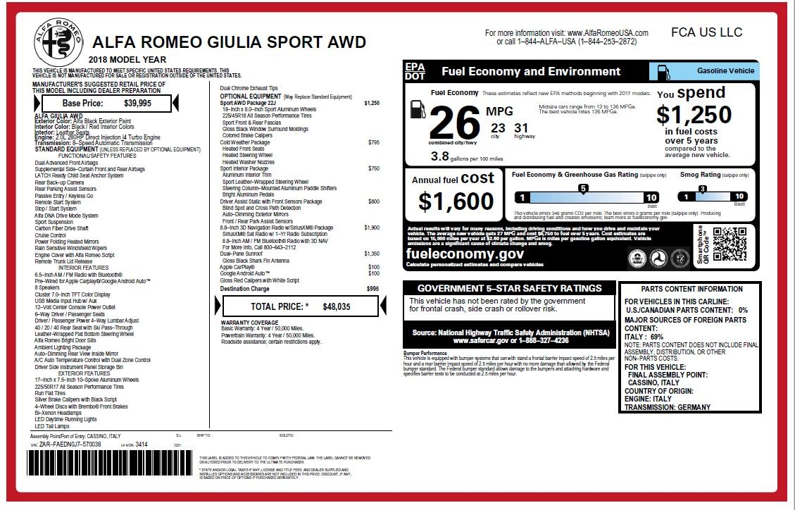 New 2018 Alfa Romeo Giulia Sport Q4 For Sale In Westport, CT 2205_p20