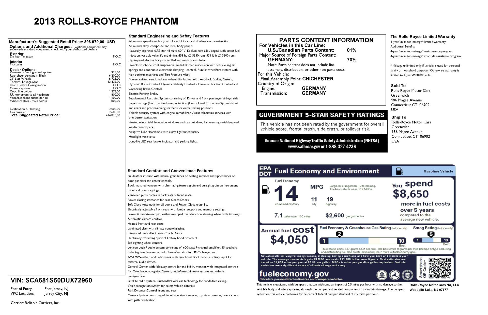 Used 2013 Rolls-Royce Phantom  For Sale In Westport, CT 2208_p24