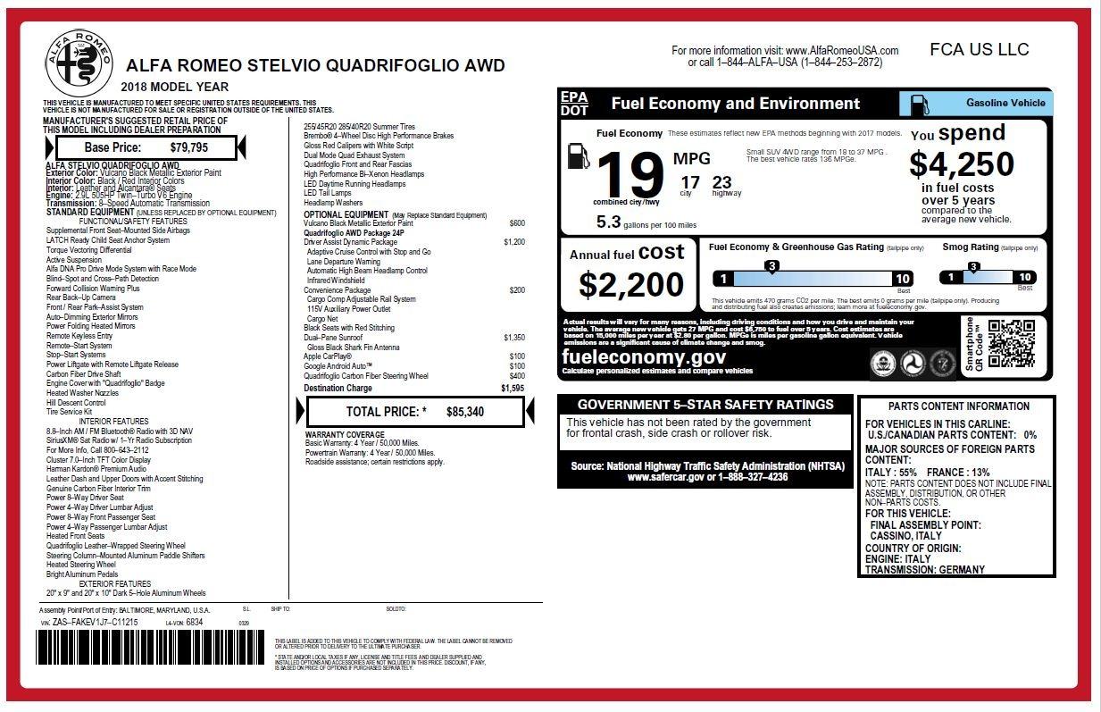 New 2018 Alfa Romeo Stelvio Quadrifoglio For Sale In Westport, CT 2253_p26