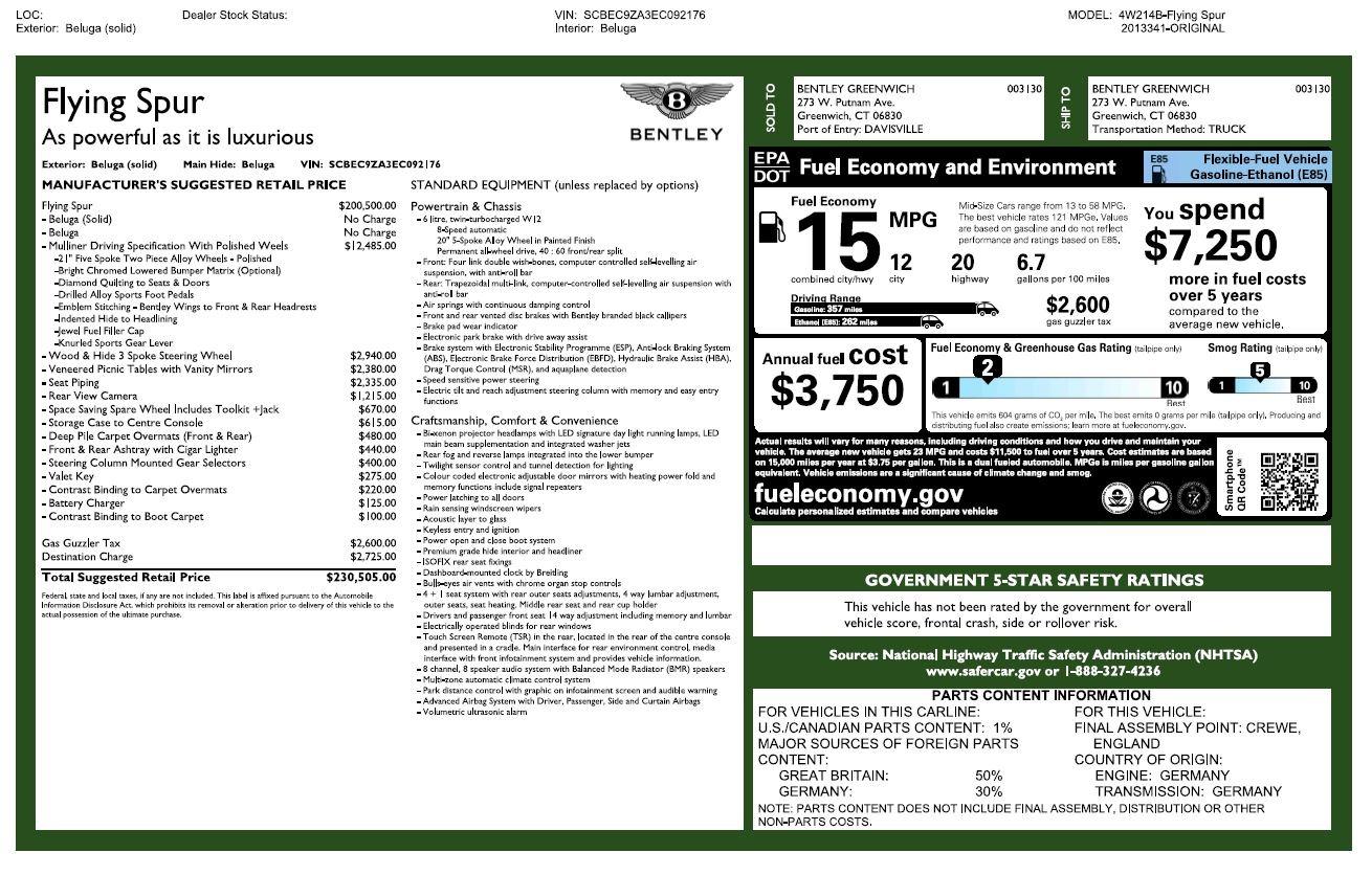 Used 2014 Bentley Flying Spur W12 For Sale In Westport, CT 2267_p27