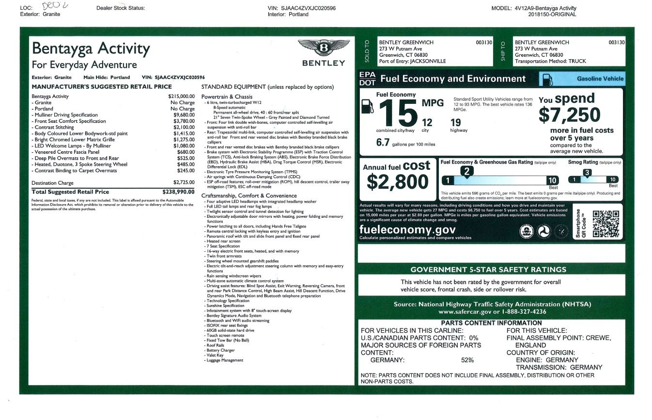 New 2018 Bentley Bentayga W12 Activity For Sale In Westport, CT 2280_p31