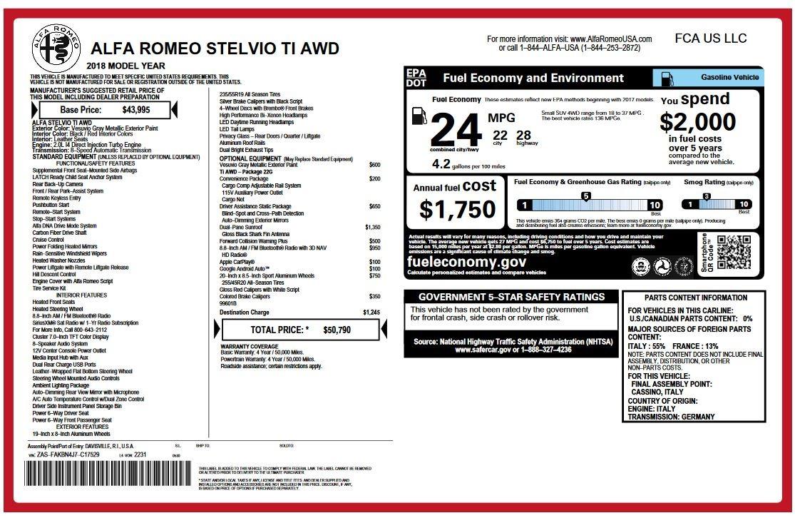 New 2018 Alfa Romeo Stelvio Ti Q4 For Sale In Westport, CT 2320_p26