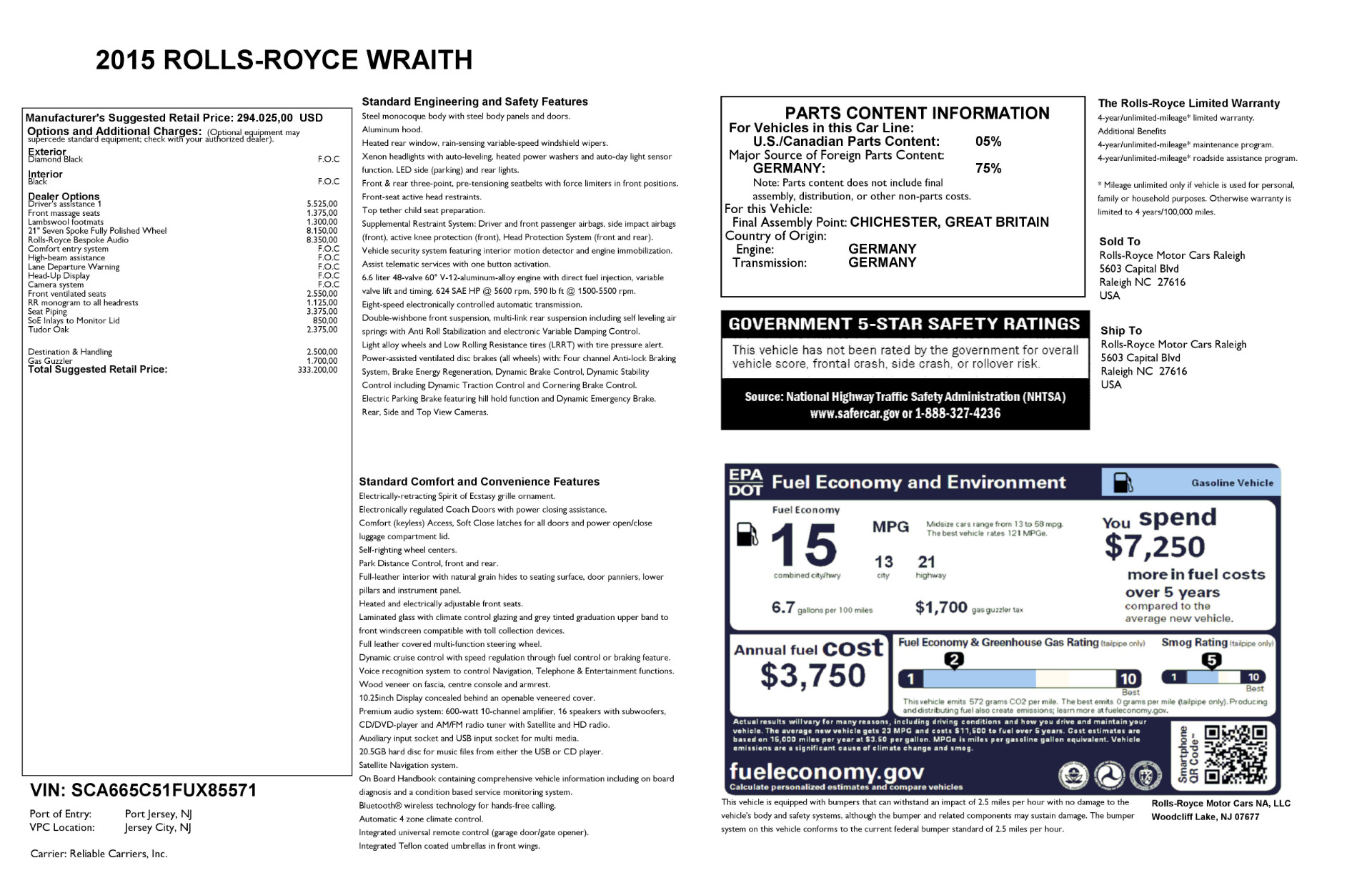 Used 2015 Rolls-Royce Wraith  For Sale In Westport, CT 2335_p24