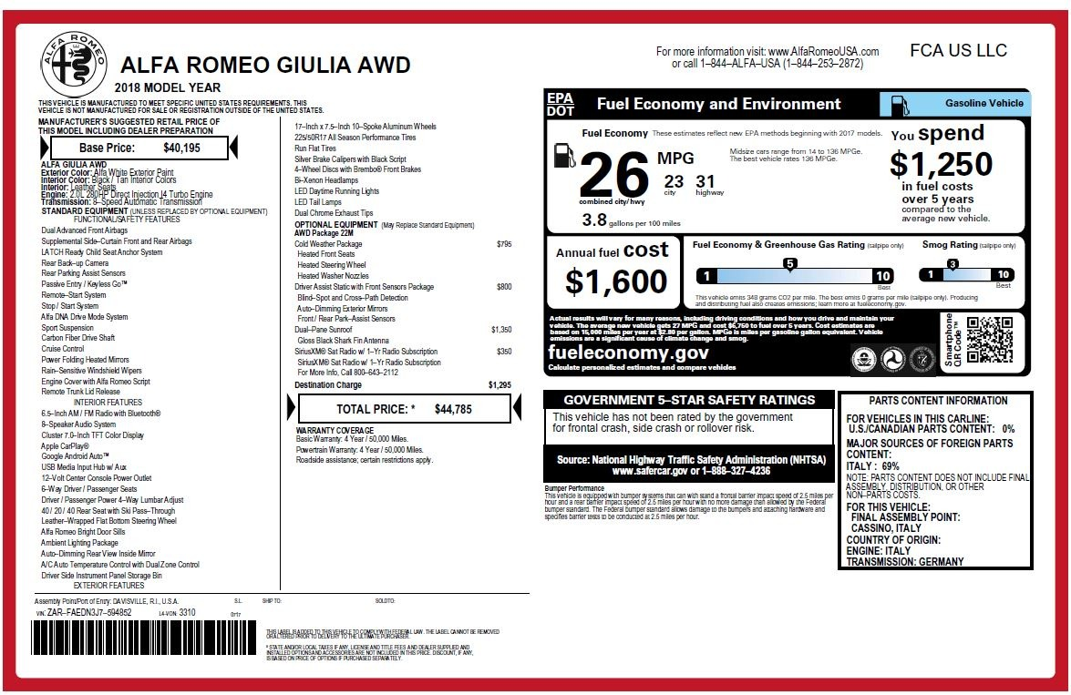 New 2018 Alfa Romeo Giulia Q4 For Sale In Westport, CT 2437_p26