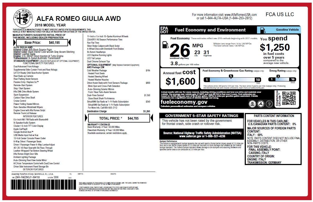 New 2018 Alfa Romeo Giulia Q4 For Sale In Westport, CT 2438_p25