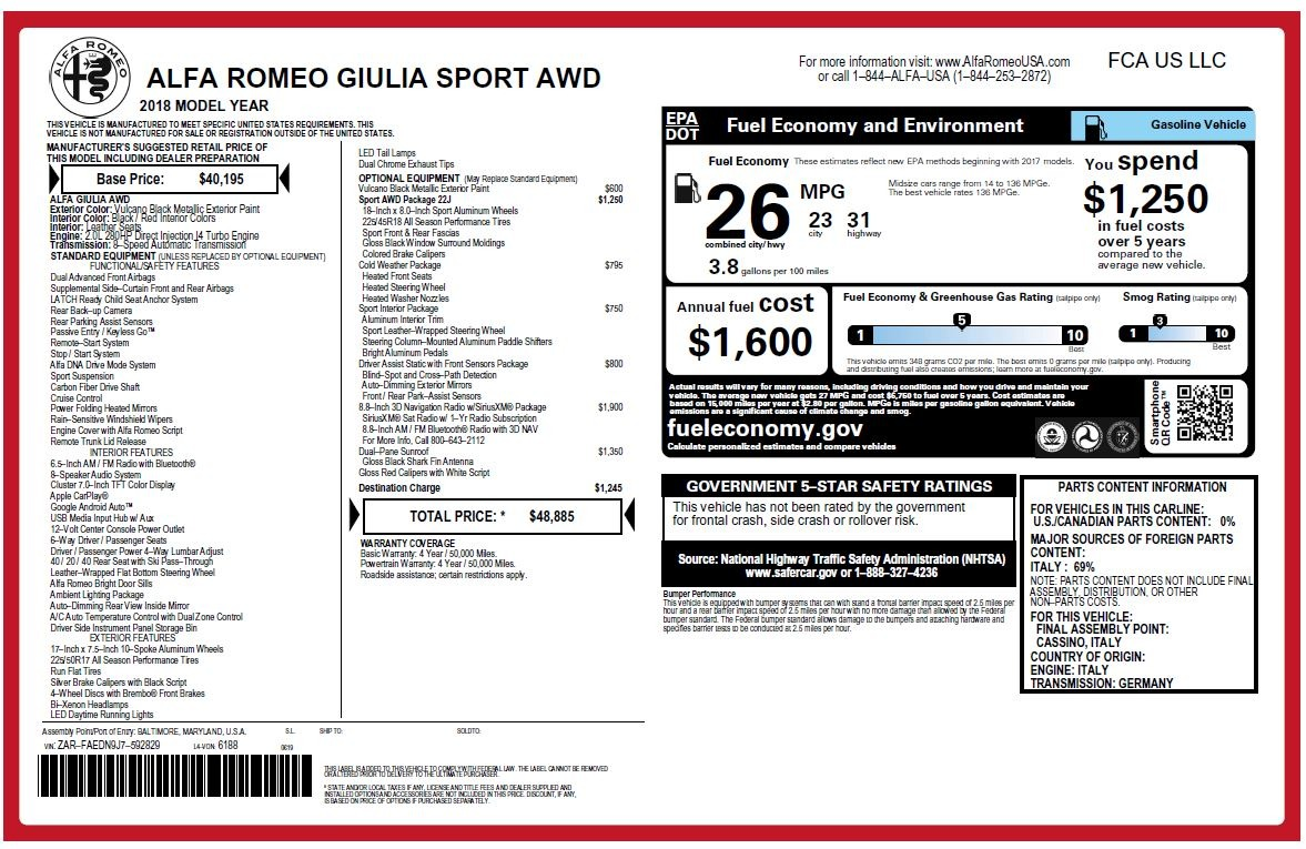 New 2018 Alfa Romeo Giulia Sport Q4 For Sale In Westport, CT 2440_p20