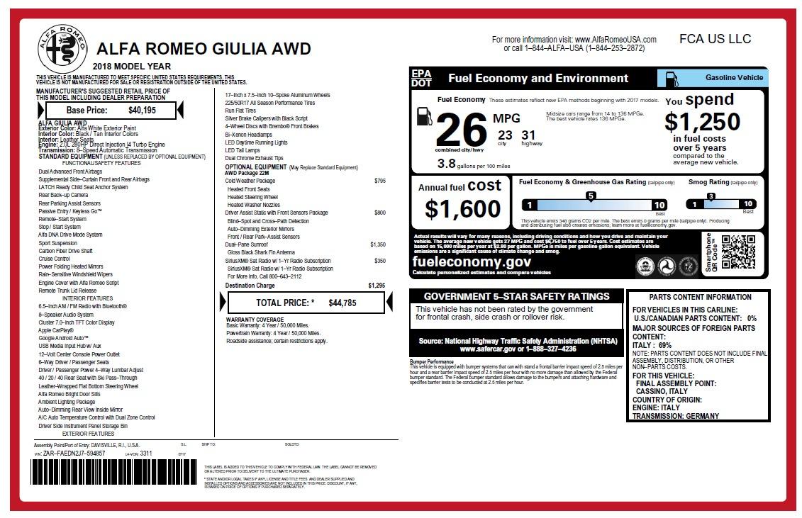 New 2018 Alfa Romeo Giulia Q4 For Sale In Westport, CT 2475_p26