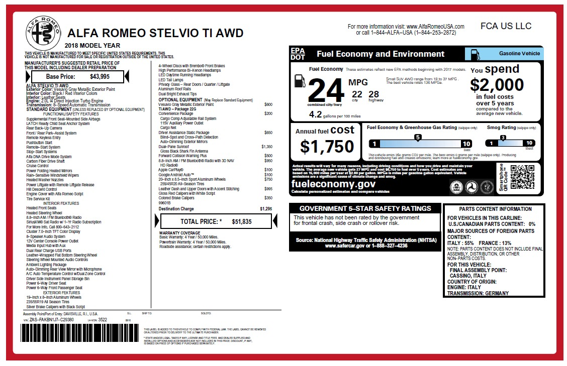 New 2018 Alfa Romeo Stelvio Ti Q4 For Sale In Westport, CT 2478_p26