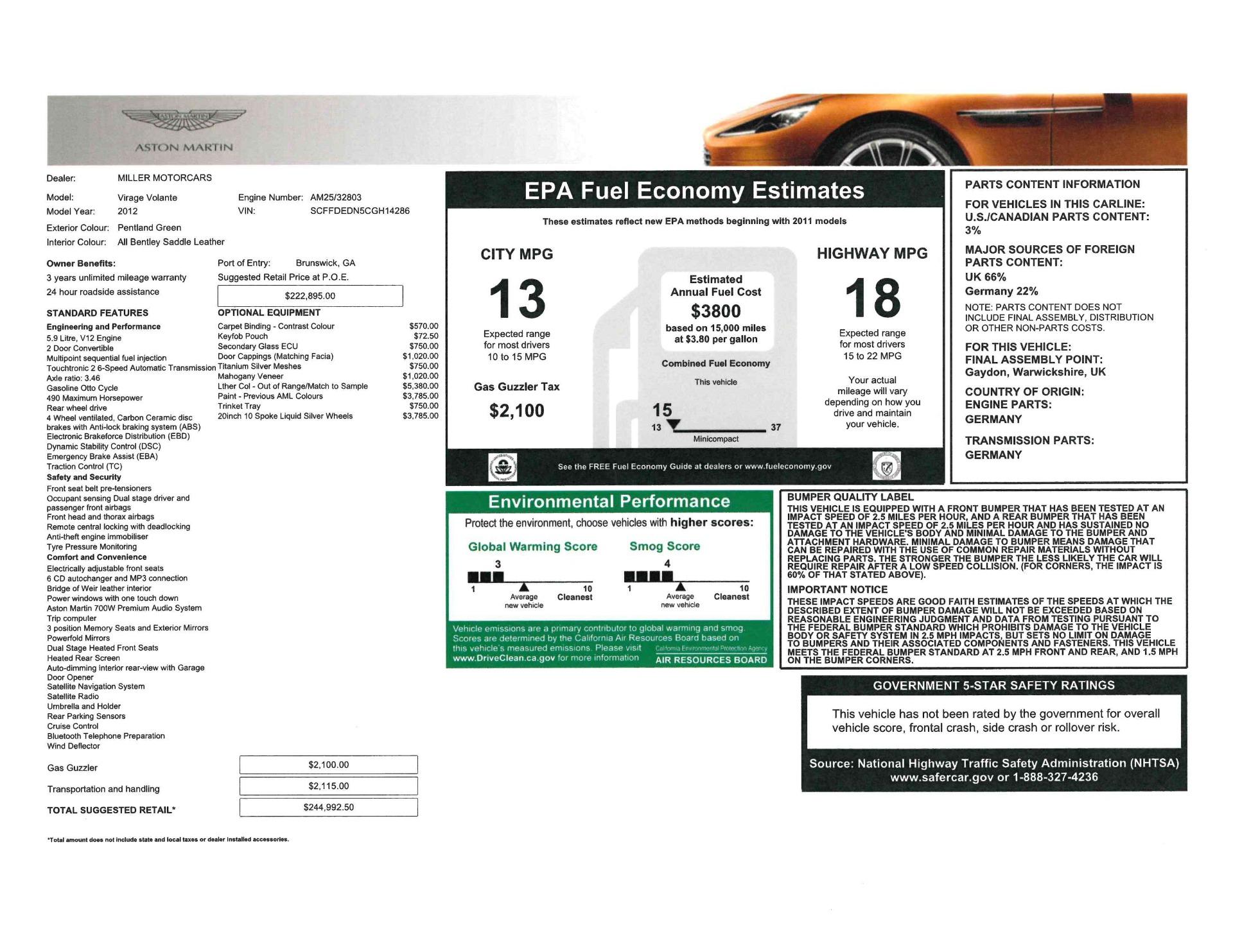 Used 2012 Aston Martin Virage Volante For Sale In Westport, CT 2508_p27