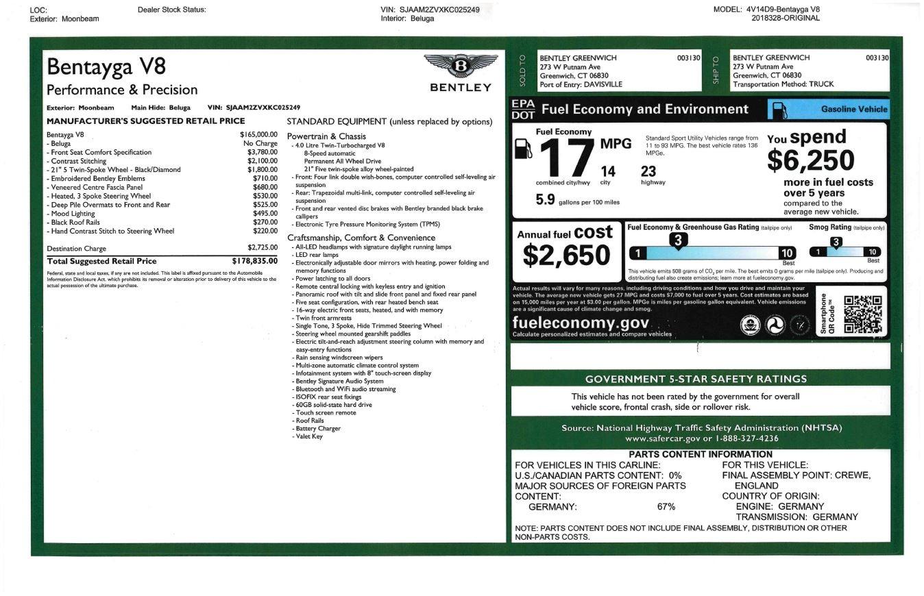 Used 2019 Bentley Bentayga V8 For Sale In Westport, CT 2540_p32