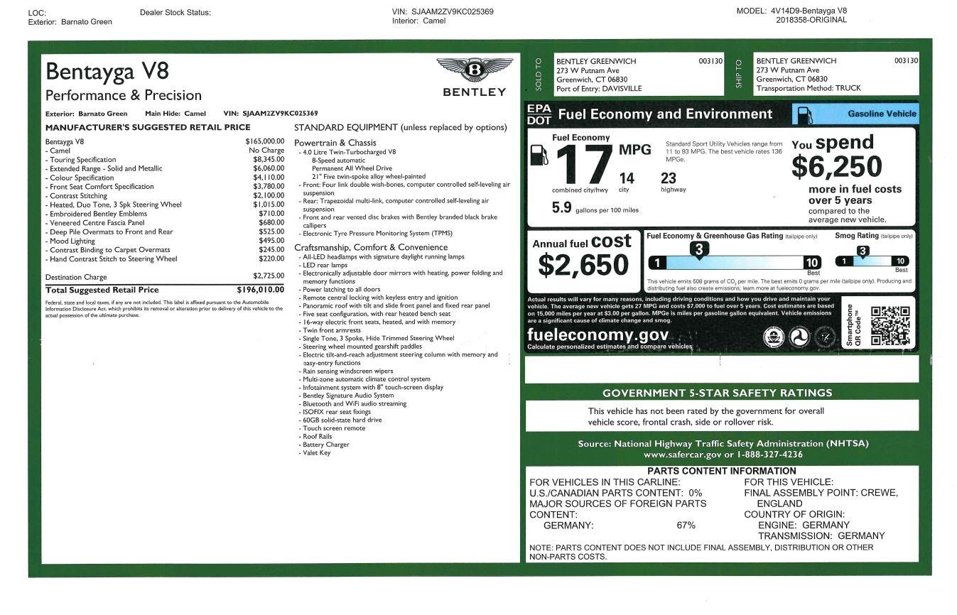 New 2019 Bentley Bentayga V8 For Sale In Westport, CT 2541_p32