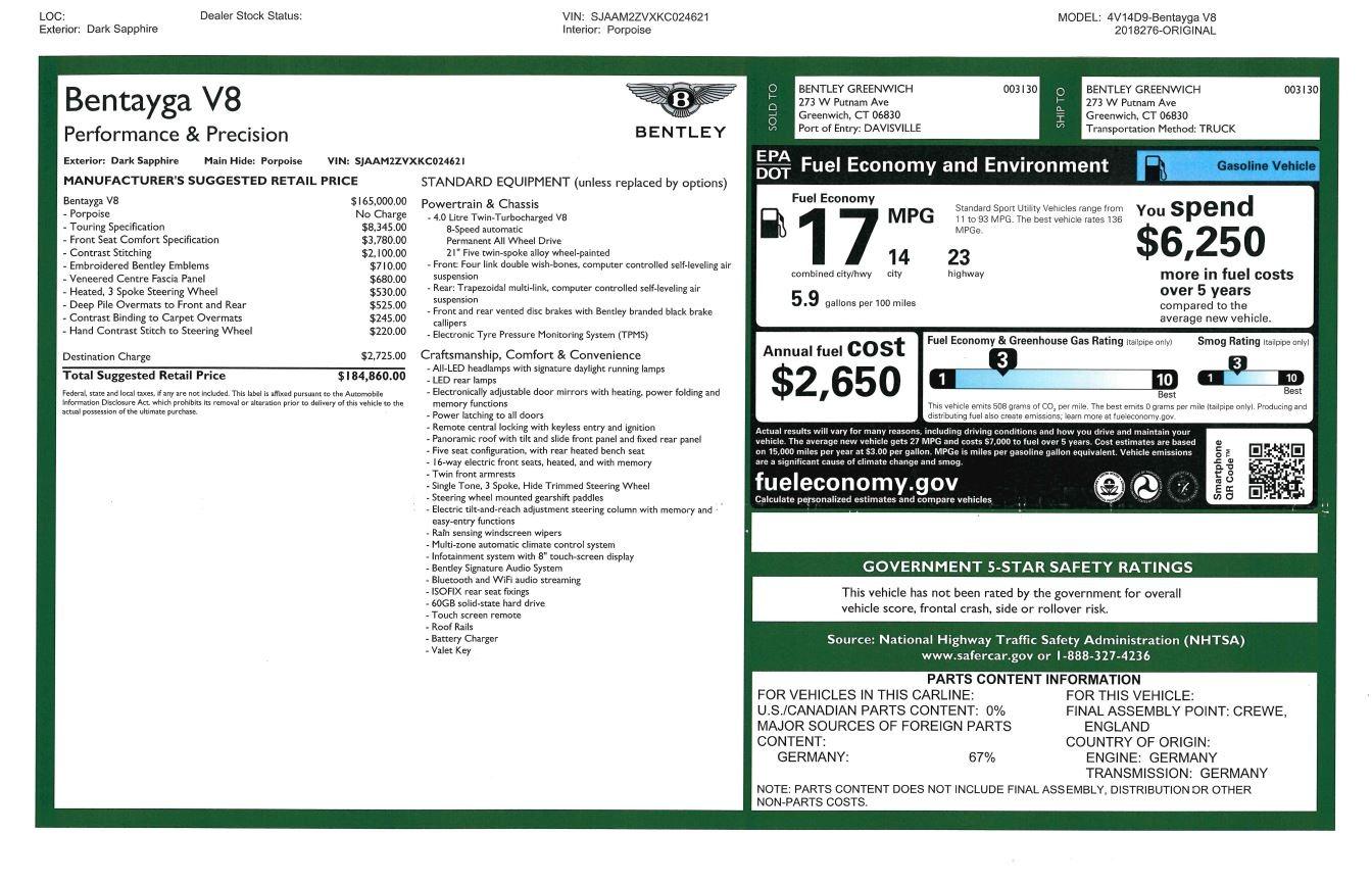 New 2019 Bentley Bentayga V8 For Sale In Westport, CT 2549_p31