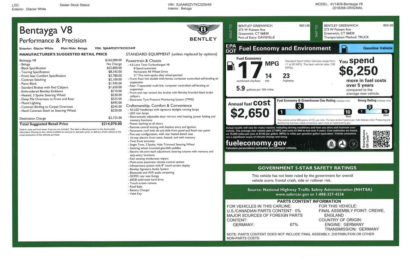 New 2019 Bentley Bentayga V8 For Sale In Westport, CT 2553_p30
