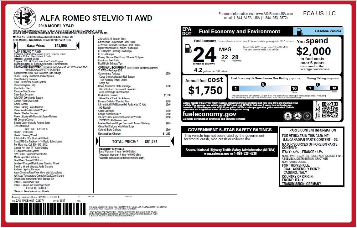 New 2018 Alfa Romeo Stelvio Ti Q4 For Sale In Westport, CT 2634_p2