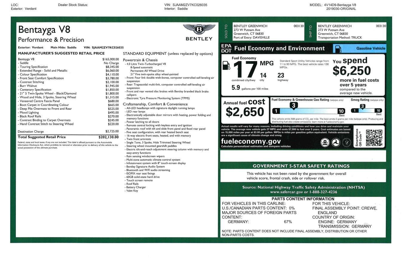 New 2019 Bentley Bentayga V8 For Sale In Westport, CT 2645_p32