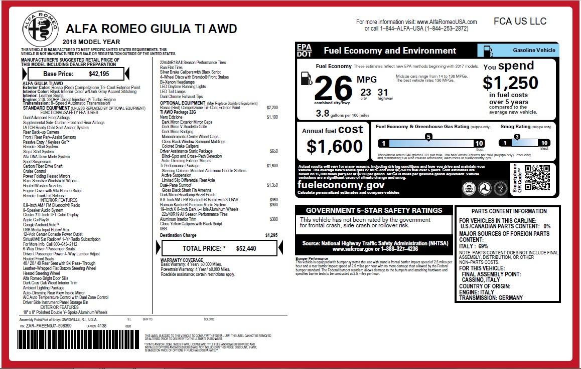 New 2018 Alfa Romeo Giulia Ti Q4 For Sale In Westport, CT 2649_p26