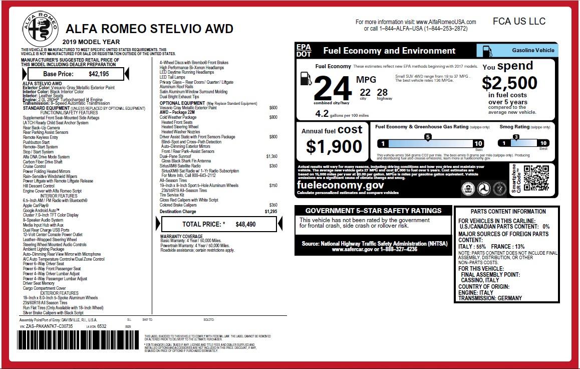 New 2019 Alfa Romeo Stelvio Q4 For Sale In Westport, CT 2653_p30