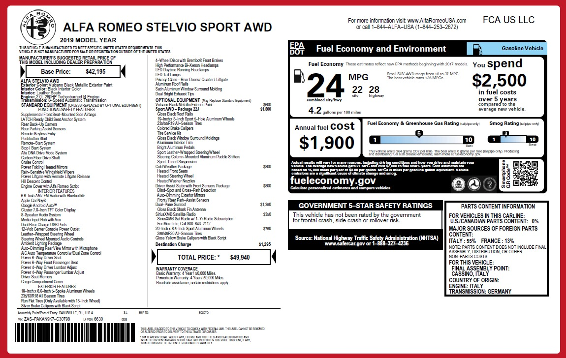 New 2019 Alfa Romeo Stelvio Q4 For Sale In Westport, CT 2654_p26