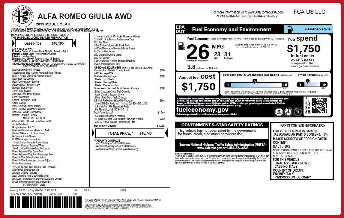 New 2019 Alfa Romeo Giulia Q4 For Sale In Westport, CT 2662_p27