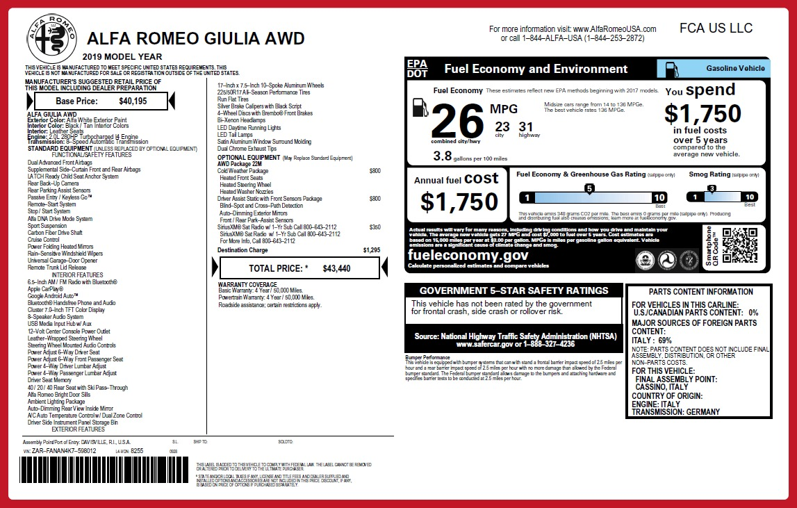 New 2019 Alfa Romeo Giulia Q4 For Sale In Westport, CT 2666_p26