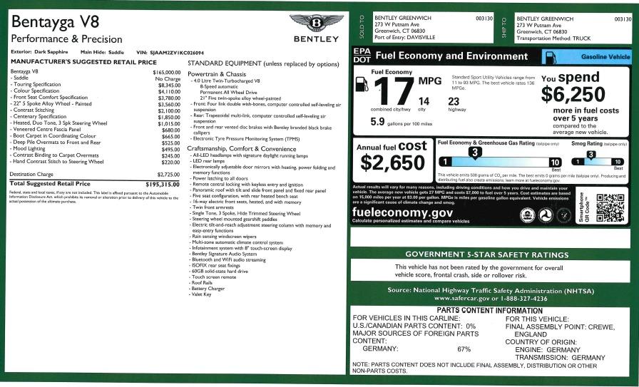 New 2019 Bentley Bentayga V8 For Sale In Westport, CT 2672_p32